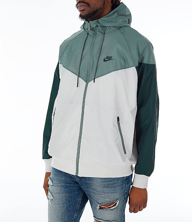 Front Three Quarter view of Men's Nike Sportswear Colorblock Windrunner Hooded Jacket in Light Bone/Vintage Lichen/Outdoor Green