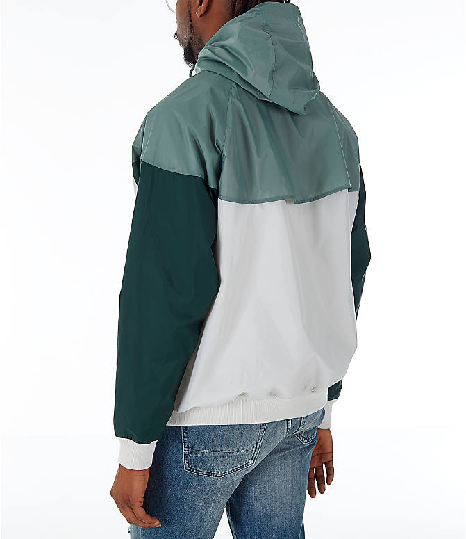 Back Left view of Men's Nike Sportswear Colorblock Windrunner Hooded Jacket in Light Bone/Vintage Lichen/Outdoor Green