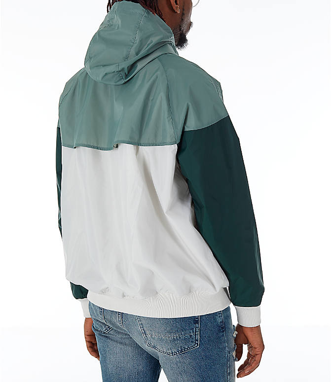 Back Right view of Men's Nike Sportswear Colorblock Windrunner Hooded Jacket in Light Bone/Vintage Lichen/Outdoor Green