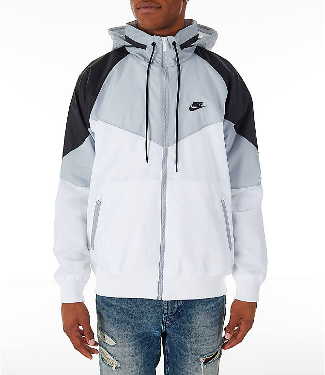Front view of Men's Nike Sportswear Windrunner Hooded Jacket in White/Wolf Grey/Black