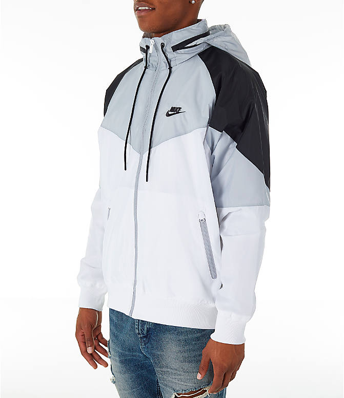 Front Three Quarter view of Men's Nike Sportswear Windrunner Hooded Jacket in White/Wolf Grey/Black