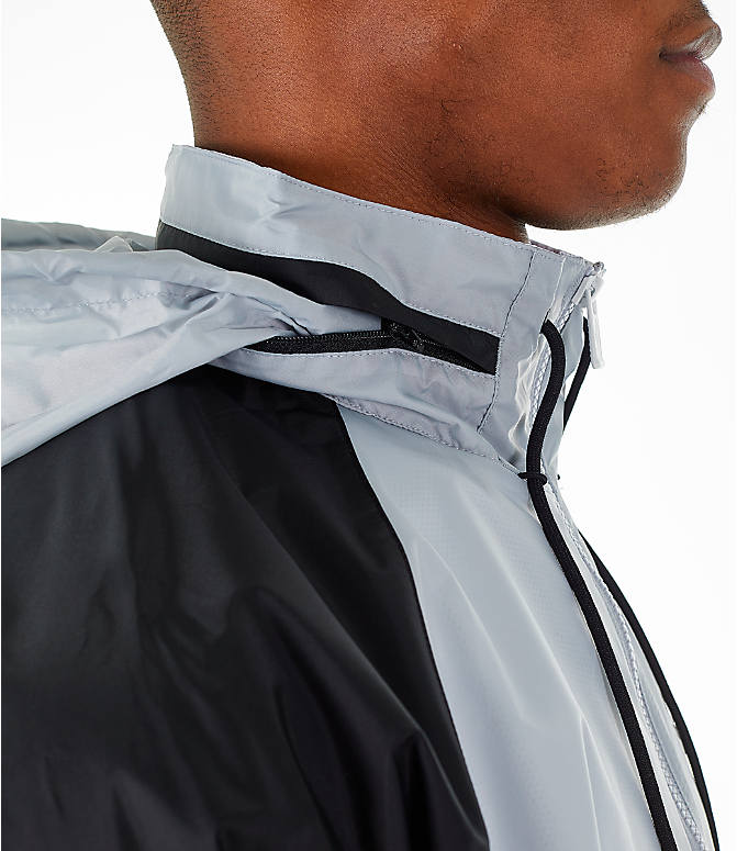 Back Right view of Men's Nike Sportswear Windrunner Hooded Jacket in White/Wolf Grey/Black