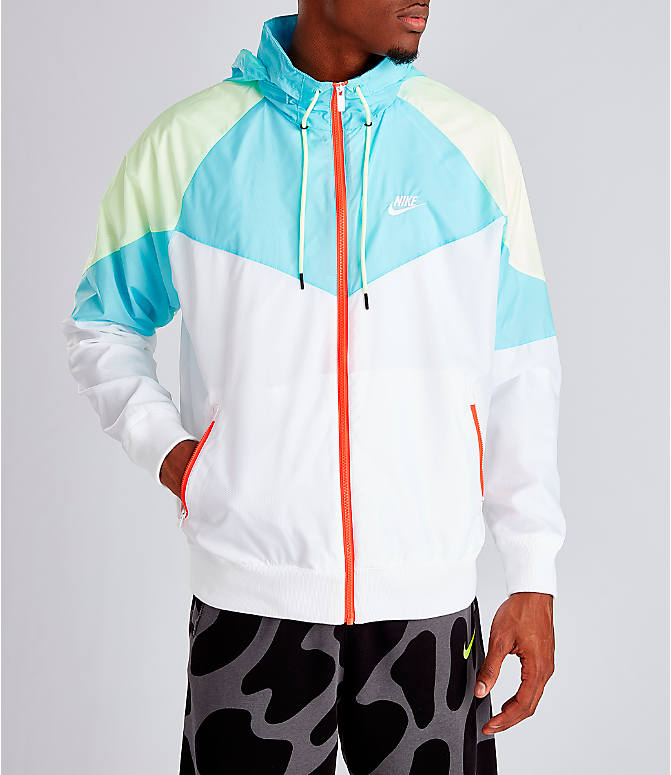 96ce27de9 Front view of Men's Nike Sportswear Windrunner Hooded Jacket in White/Blue  Gaze/Barely