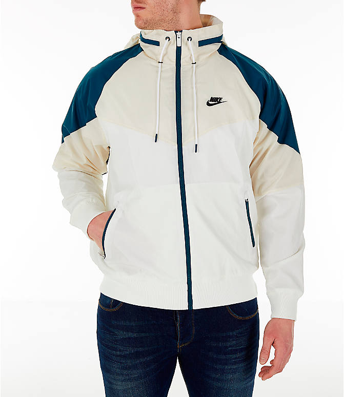 Front view of Men s Nike Sportswear Windrunner Hooded Jacket in Sail Light  Cream Nightshade ab9e12e4d