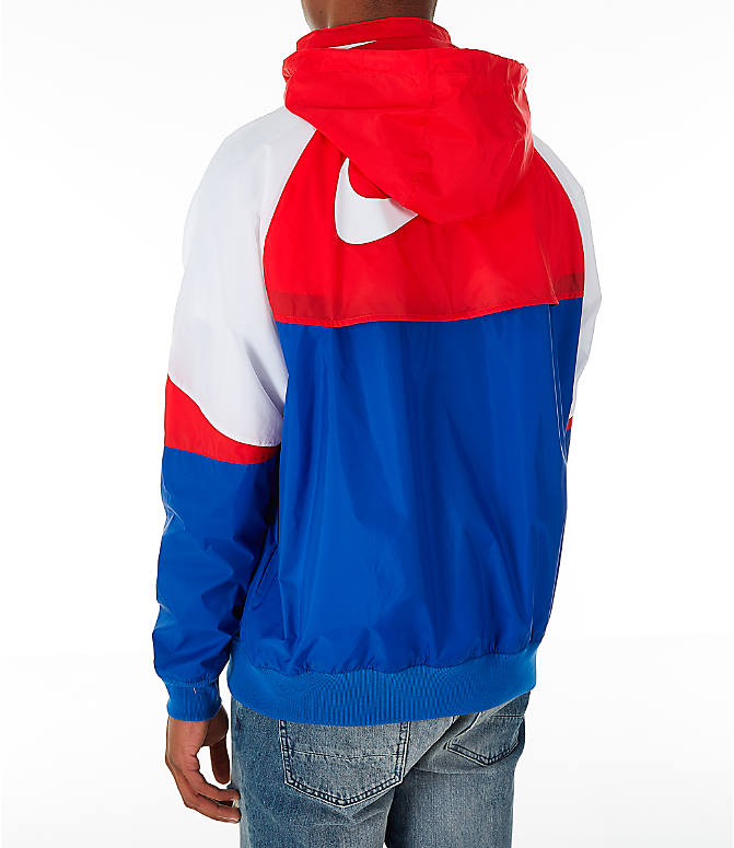 4aa2cf9fd99f Back Left view of Men s Nike Sportswear Windrunner Hooded Jacket in Indigo  Force University Red