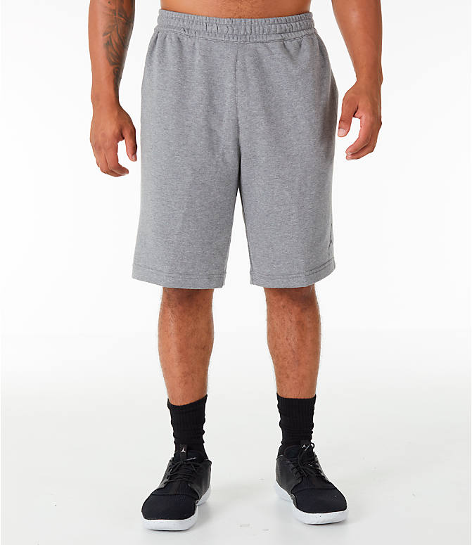 Front Three Quarter view of Men's Jordan HBR Fleece Basketball Shorts in Carbon Heather