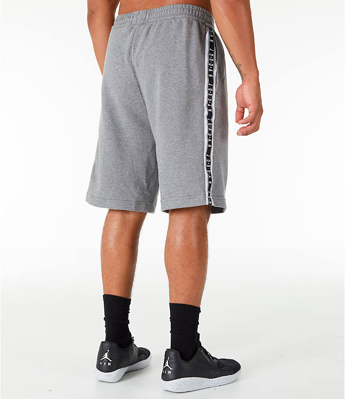 Back Right view of Men's Jordan HBR Fleece Basketball Shorts in Carbon Heather