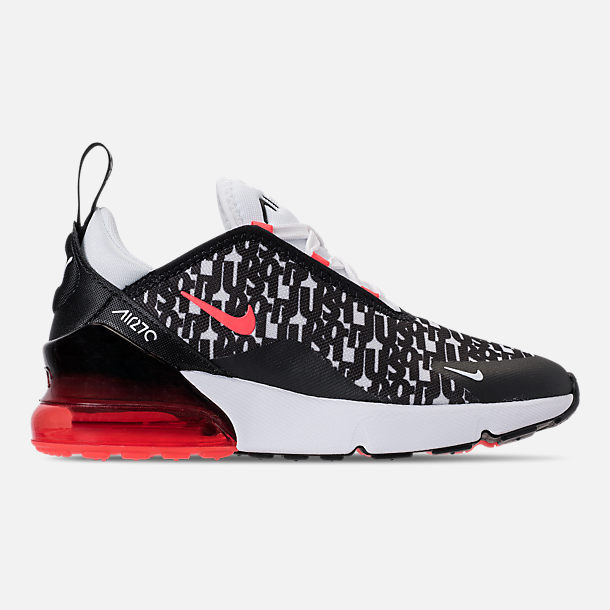 Right view of Boys' Preschool Nike Air Max 270 Print Running Shoes in Black/White/Bright Crimson
