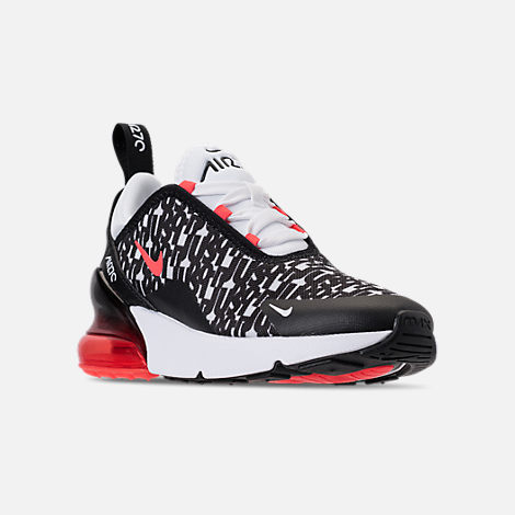 Three Quarter view of Boys' Preschool Nike Air Max 270 Print Running Shoes in Black/White/Bright Crimson