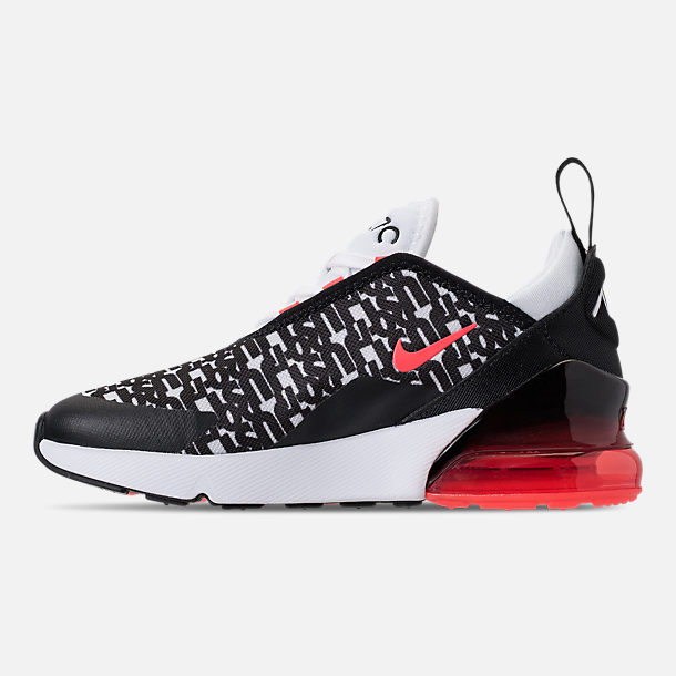 Left view of Boys' Preschool Nike Air Max 270 Print Running Shoes in Black/White/Bright Crimson