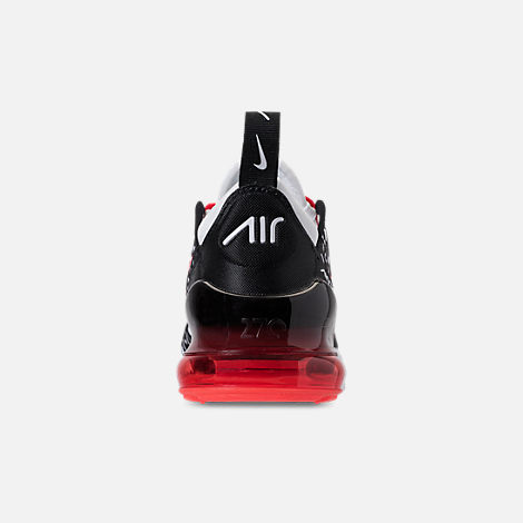 Back view of Boys' Preschool Nike Air Max 270 Print Running Shoes in Black/White/Bright Crimson
