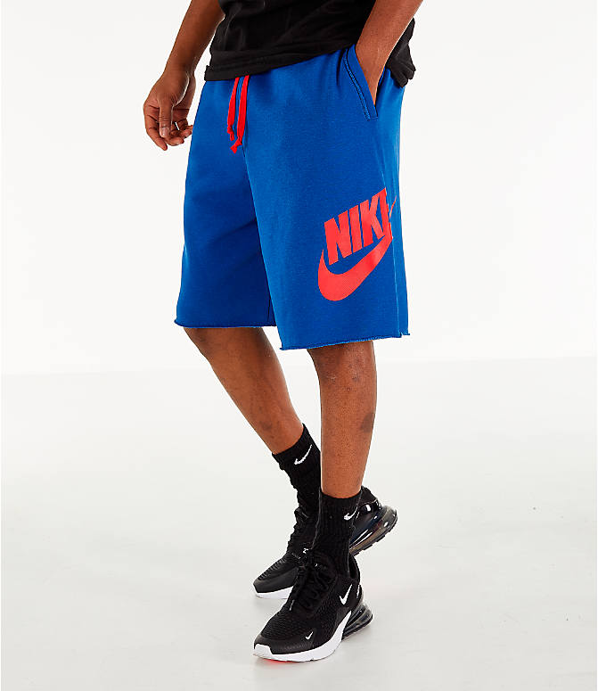 Front view of Men's Nike Sportswear Alumni Shorts in Indigo/Red