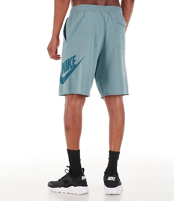 Back Left view of Men's Nike Sportswear Alumni Shorts in Aviator Grey/Black