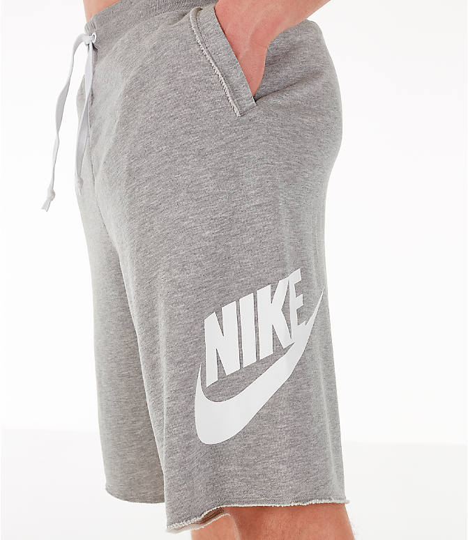 Detail 2 view of Men's Nike Sportswear Alumni Fleece Shorts in Dark Grey Heather/White