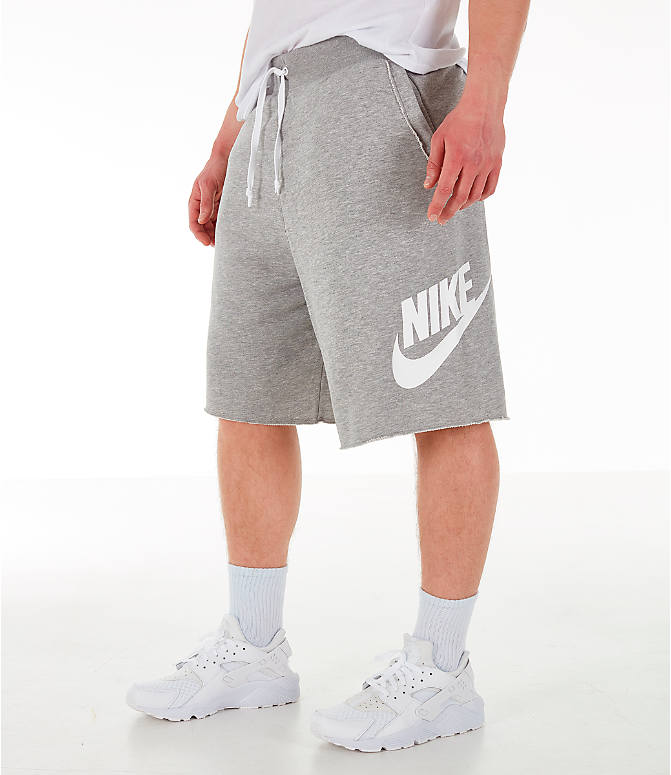 Front view of Men's Nike Sportswear Alumni Fleece Shorts in Dark Grey Heather/White