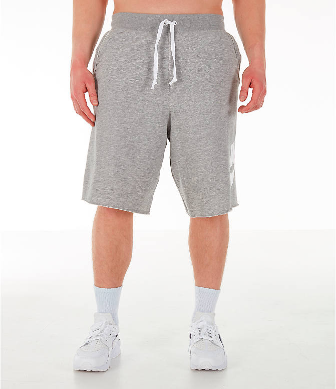 Front Three Quarter view of Men's Nike Sportswear Alumni Fleece Shorts in Dark Grey Heather/White