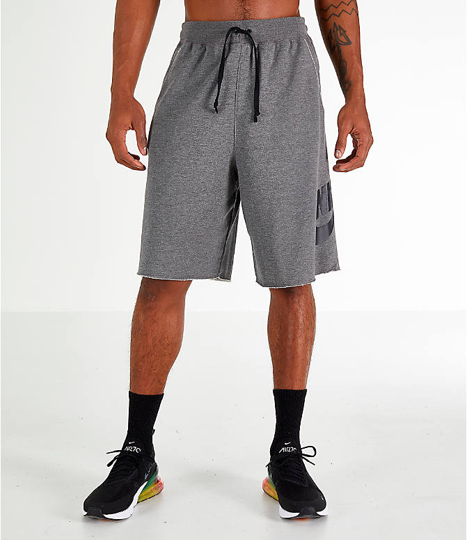 Front Three Quarter view of Men's Nike Sportswear Alumni Shorts in Charcoal/Black