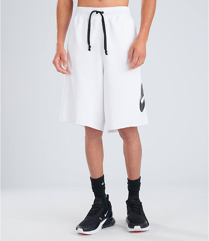 Front Three Quarter view of Men's Nike Sportswear Alumni Shorts in White/Black