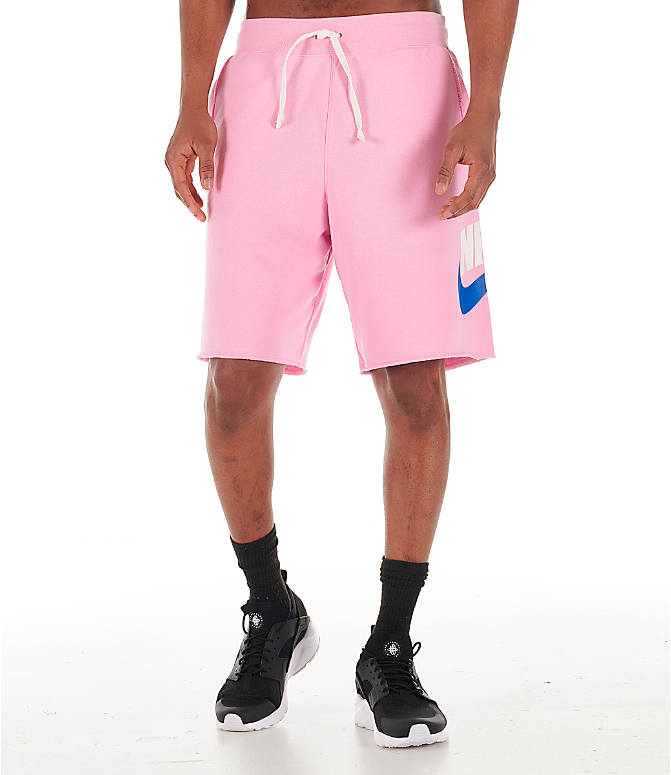 Front Three Quarter view of Men's Nike Sportswear Alumni Shorts in Pink/Sail