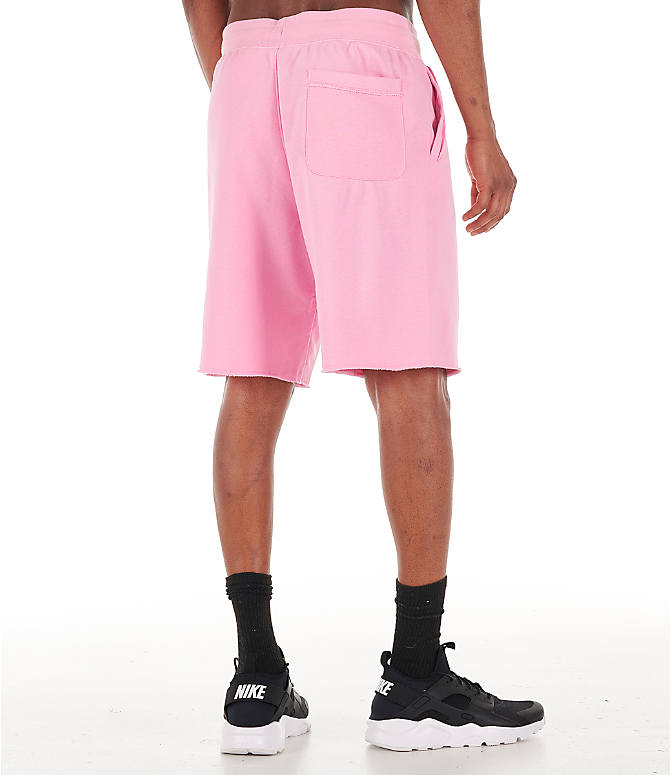 Back Right view of Men's Nike Sportswear Alumni Shorts in Pink/Sail