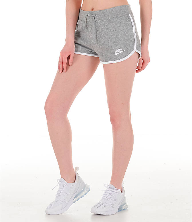 Front Three Quarter view of Women's Nike Sportswear Heritage Fleece Shorts in Grey Heather/White