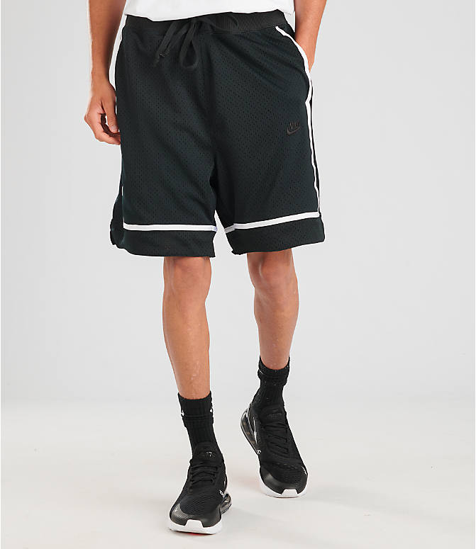 Front view of Men's Nike Sportswear Statement Mesh Shorts in Black/White