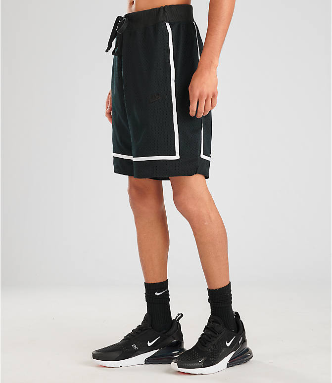 Front Three Quarter view of Men's Nike Sportswear Statement Mesh Shorts in Black/White