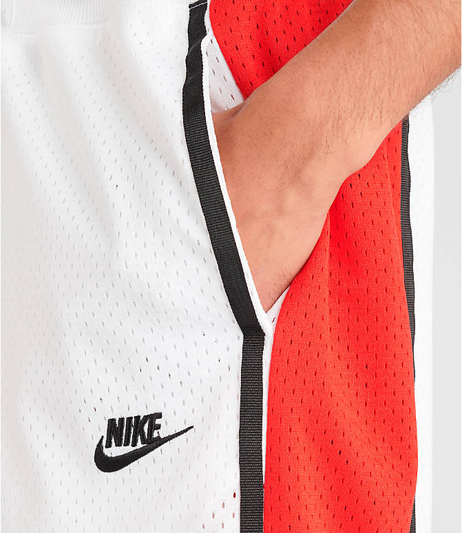 Detail 1 view of Men's Nike Sportswear Statement Mesh Shorts in White/Red