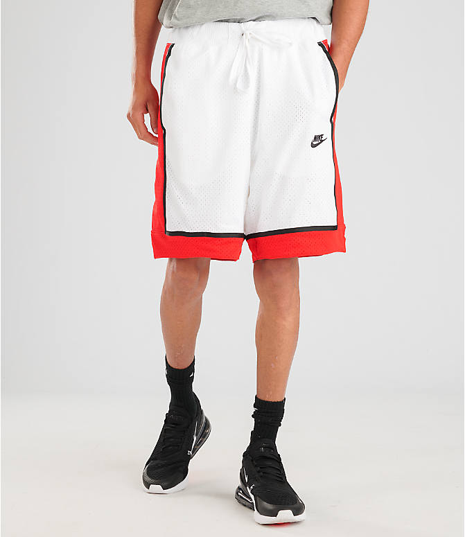 Front view of Men's Nike Sportswear Statement Mesh Shorts in White/Red