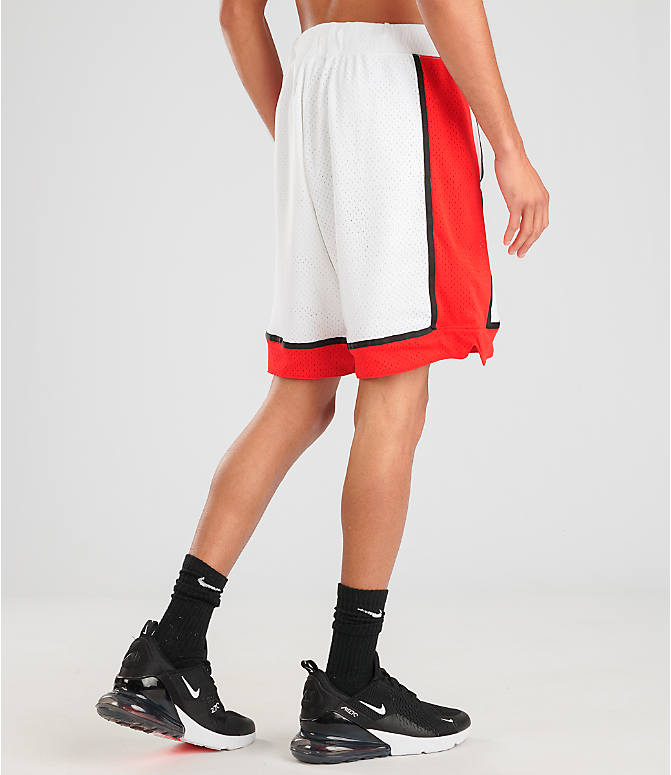 Back Right view of Men's Nike Sportswear Statement Mesh Shorts in White/Red