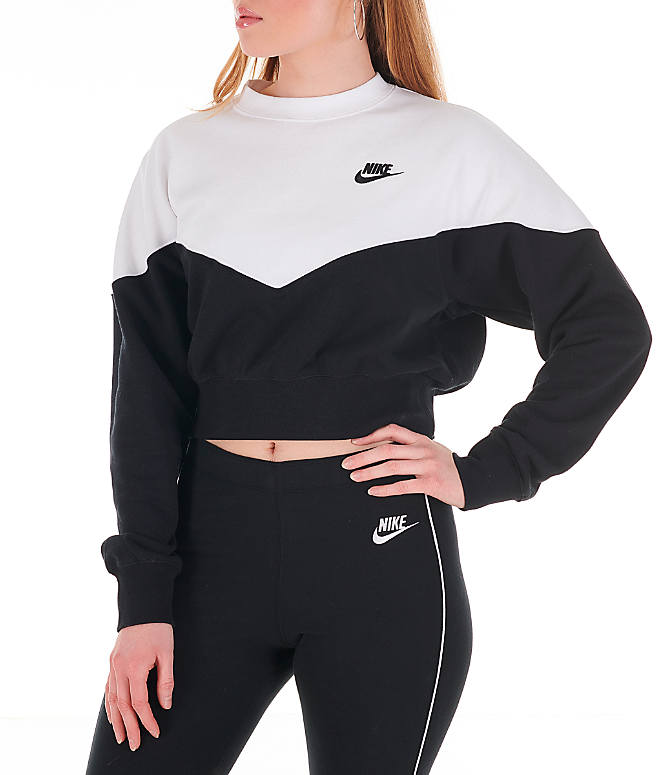 554779b266c8 Front view of Women's Nike Sportswear Heritage Crop Crew Sweatshirt in Black