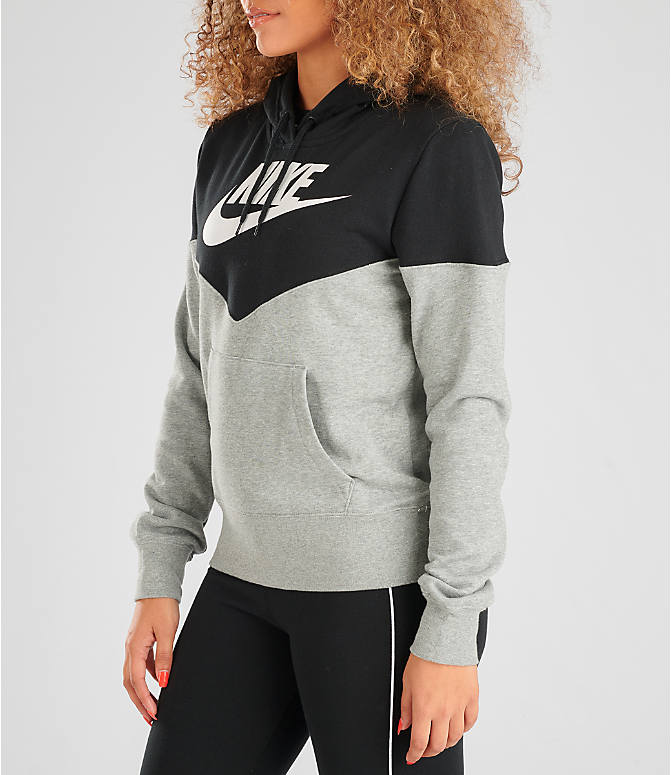 Front Three Quarter view of Women's Nike Sportswear Heritage Fleece Hoodie