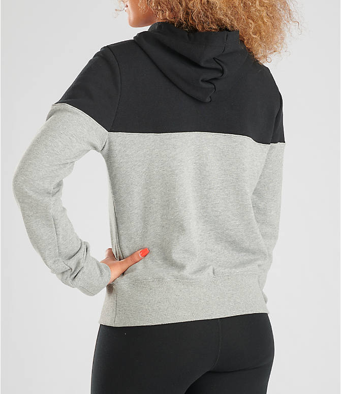 Back Left view of Women's Nike Sportswear Heritage Fleece Hoodie