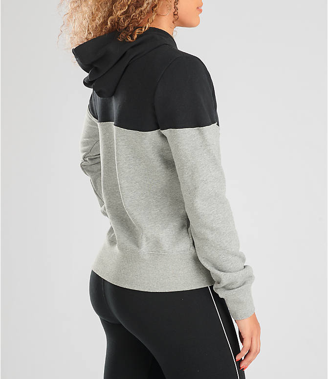 Back Right view of Women's Nike Sportswear Heritage Fleece Hoodie