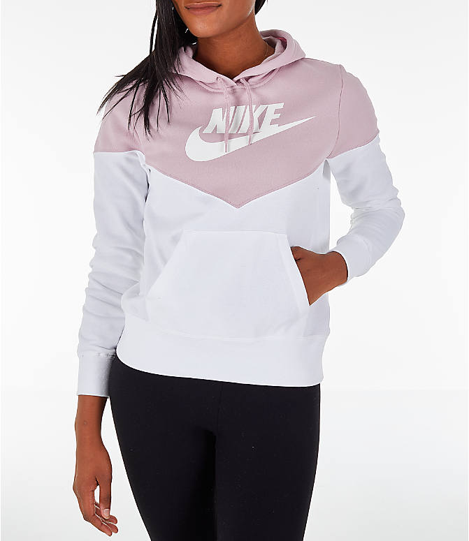 c6c2d64ddf0fb Front view of Women's Nike Sportswear Heritage Fleece Hoodie in Plum Chalk/ White