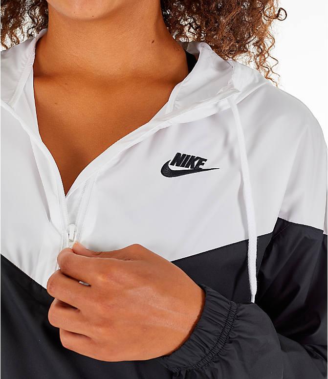 Detail 2 view of Women s Nike Sportswear Heritage Crop Windrunner Jacket in  Black White 0e465fb3d