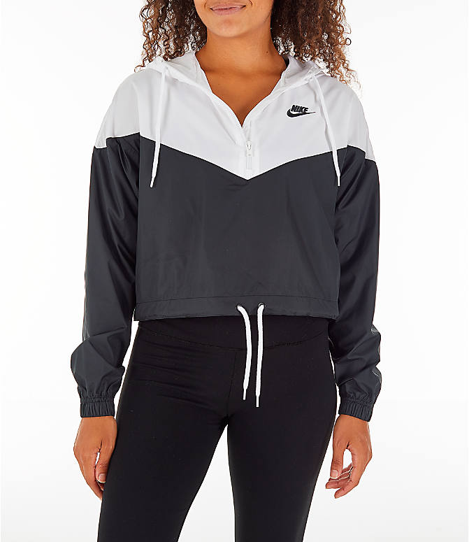 7b4307ea5b Front view of Women s Nike Sportswear Heritage Crop Windrunner Jacket in  Black White