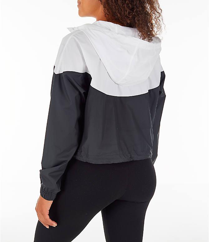 Back Left view of Women s Nike Sportswear Heritage Crop Windrunner Jacket  in Black White 8ea8f5608