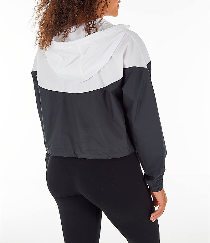 14801906d0 Back Right view of Women s Nike Sportswear Heritage Crop Windrunner Jacket  in Black White