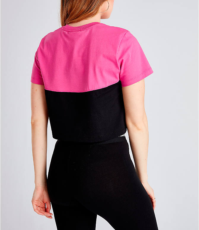 Back Right view of Women's Nike Sportswear Heritage Cropped T-Shirt in Black/Active Fuchsia