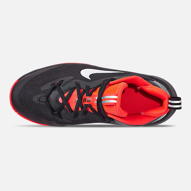 Top view of Boys' Grade School Nike Future Court Basketball Shoes in Black/Reflect Silver/Bright Crimson