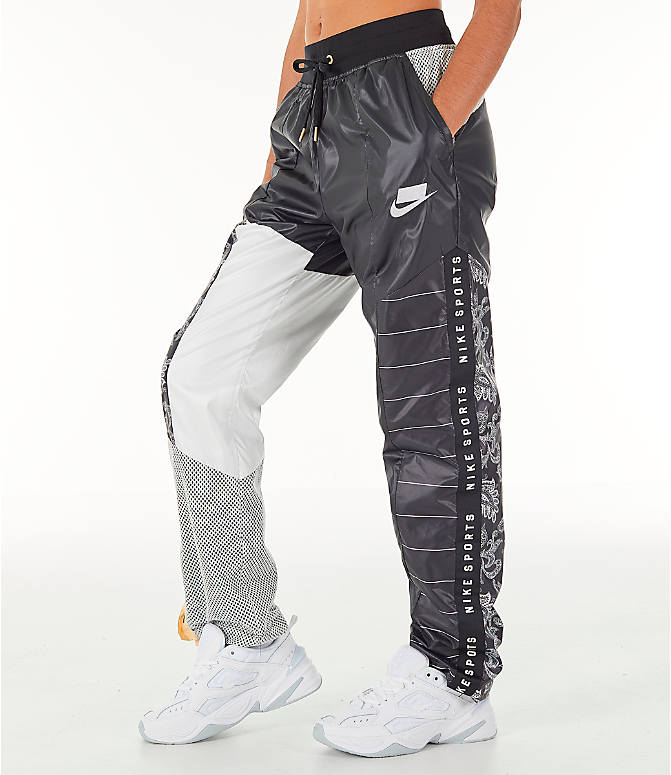 Front view of Women s Nike Sportswear NSW Track Pants in Black White 697fe45f5e