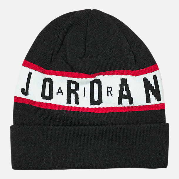 Front view of Jordan Sport Tape Knit Beanie Hat in Black/Red/White