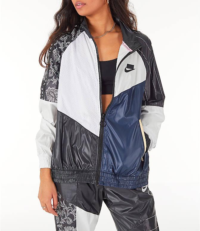 Front view of Women s Nike Sportswear NSW Track Jacket in Black White 0419a0e31a