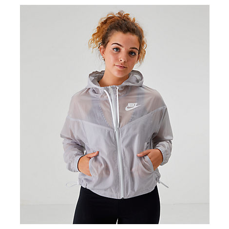 Nike Women's Transparent Windrunner Wind Jacket In White Size Large