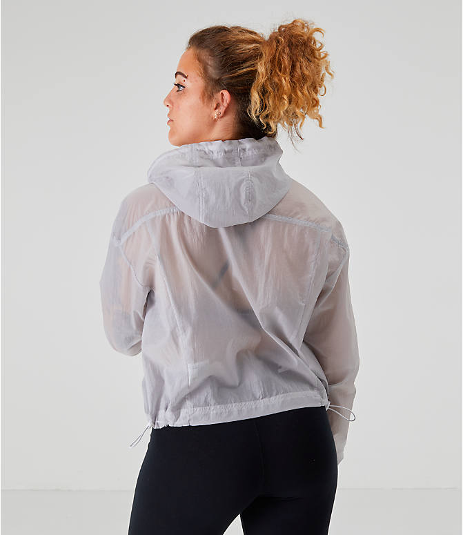 62f795fb6 Back Left view of Women's Nike Transparent Windrunner Wind Jacket in Summit  White/Gunsmoke/