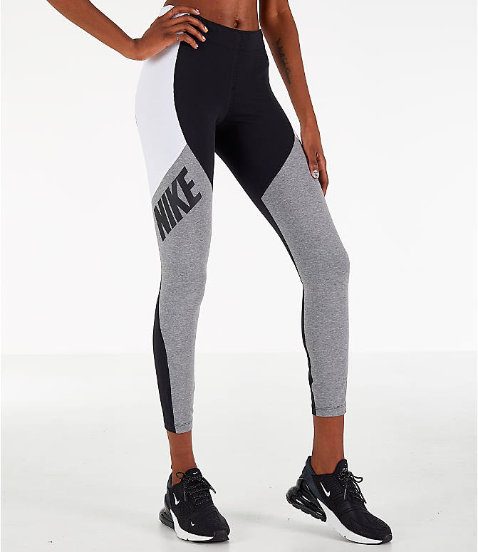 69df73ad9783e Front view of Women's Nike Leg-A-See Distort Leggings in Black/Grey