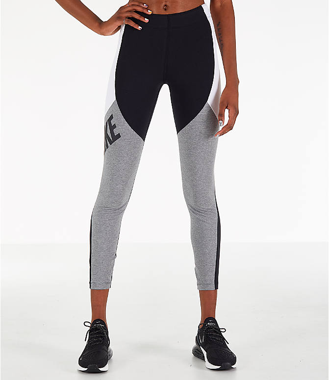 e51a6b5025541 Front Three Quarter view of Women's Nike Leg-A-See Distort Leggings in Black