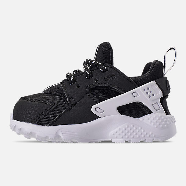 Left view of Boys' Toddler Nike Huarache Run SE Casual Shoes in Black/Black/White
