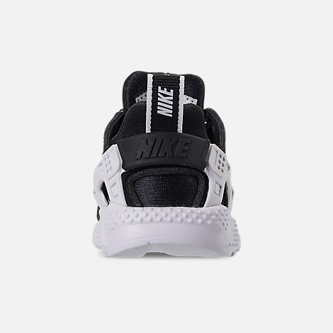 Back view of Boys' Toddler Nike Huarache Run SE Casual Shoes in Black/Black/White